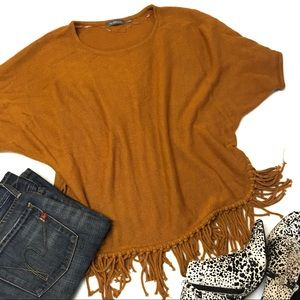 NY collection fringe dolman sleeves knit top large